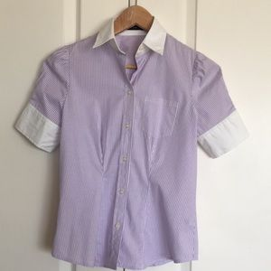 New Purple & White Pinstriped Button Down